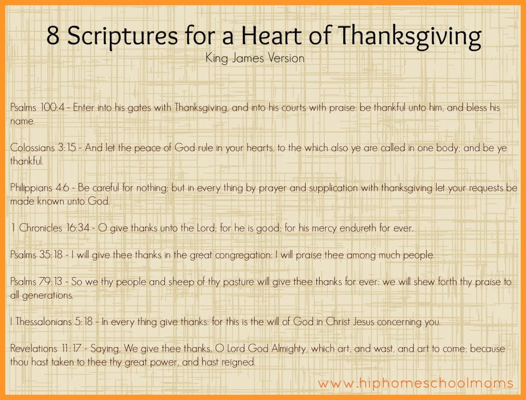 Hip Homeschool Moms - 8 Scriptures for a Heart of Thanksgiving