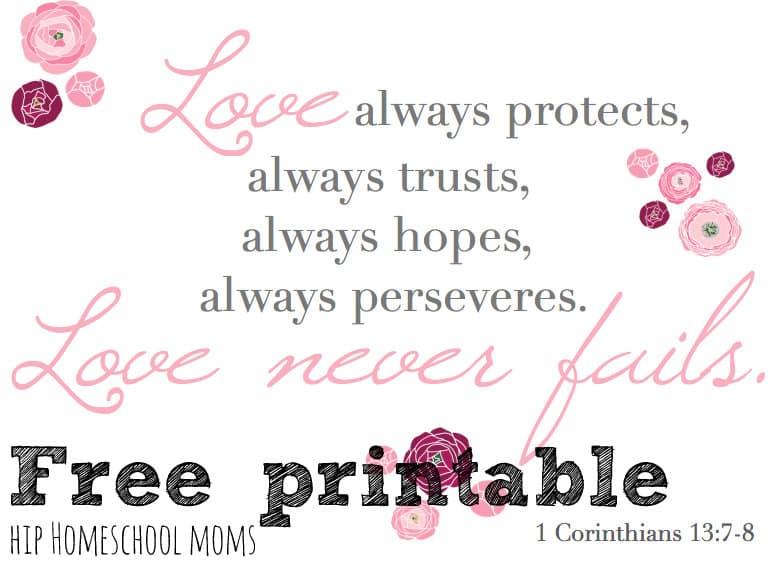 Happy Valentine's Day Free Printable of 1 Corinthians 13