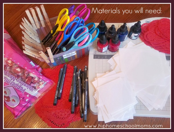 Materials Needed for Inkblot Valentines | Hip Homeschool Moms