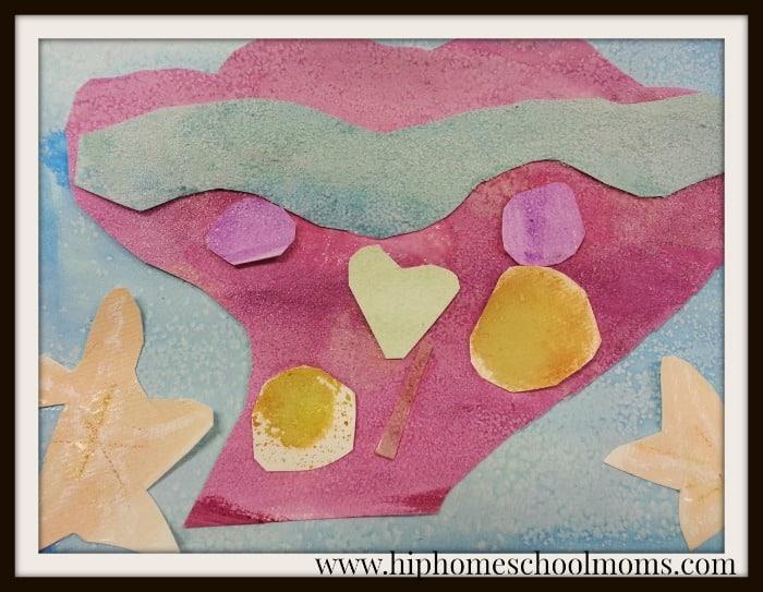 Seashell collage adding salt to create texture. | Hip Homeschool Moms