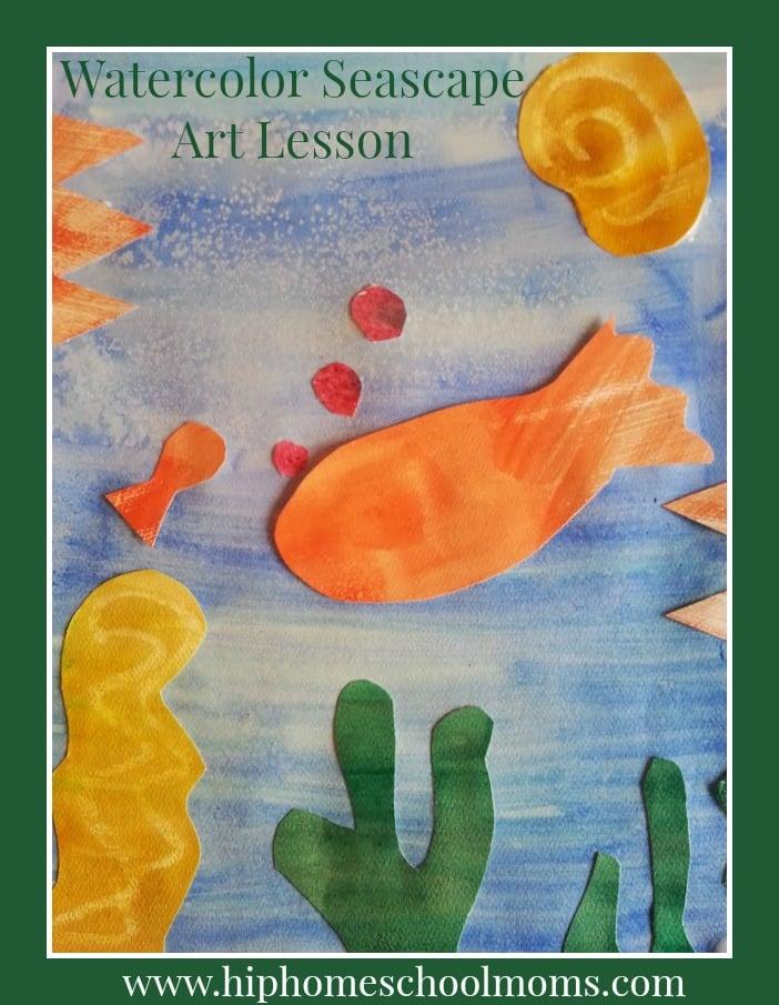 Watercolor Seascape Art Lesson for Kids | Hip Homeschool Moms