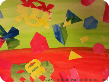 Some children may just enjoy a collage with color and shape being the main focus