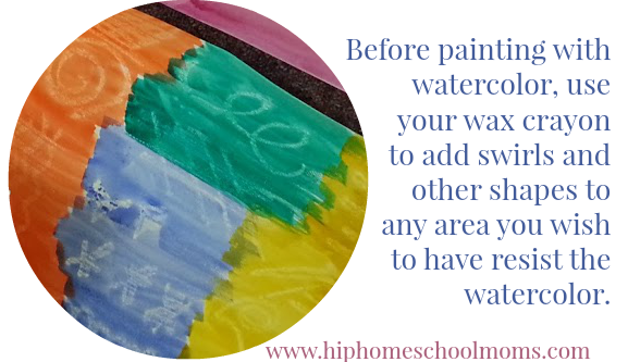 Before painting with watercolor, use your wax crayon to add swirls and other shapes to any area you wish to have resist the water color. | Hip Homeschool Moms