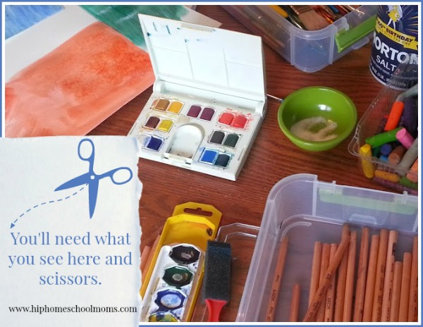 Supplies needed for seascape watercolor project. | Hip Homeschool Moms