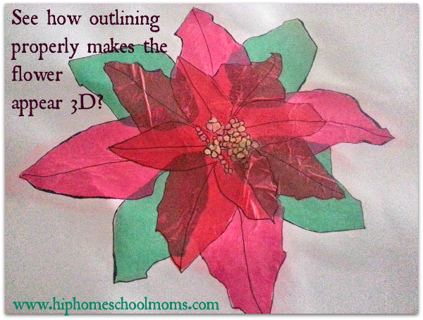 Outlining properly makes the flower appear 3D. | Hip Homeschool Moms