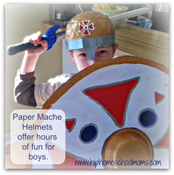 Paper mache helmets are perfect for boys and offer hours of imaginative play. | Hip Homeschool Moms