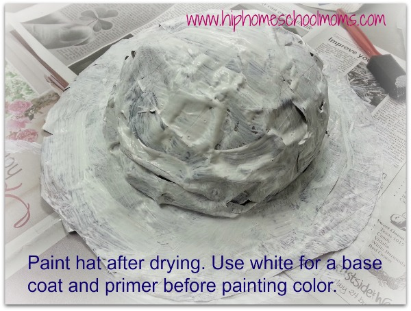 Paint paper mache hat white as a primer. | Hip Homeschool Moms