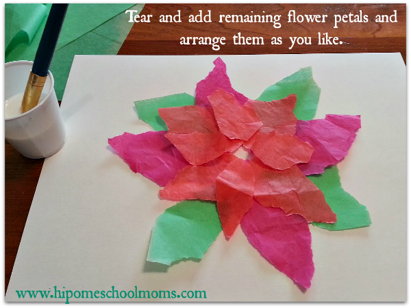 Tear and arrange remaining tissue paper petals. | Hip Homeschool Moms