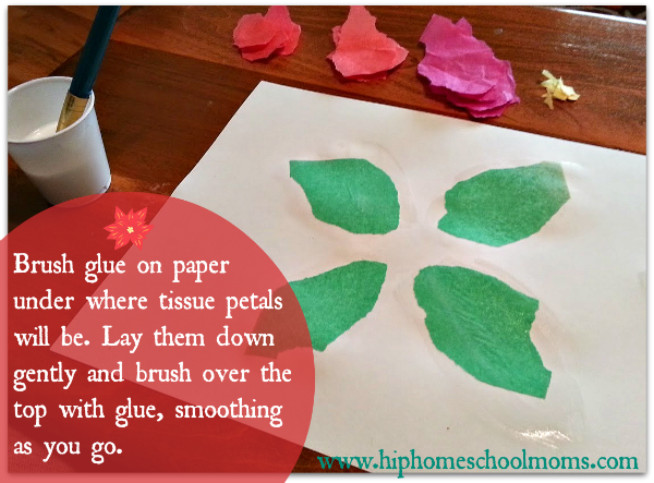 Brush glue on paper under where tissue petals will be. Lay them down gently and brush over the top with glue, smoothing as you go. | Hip Homeschool Moms