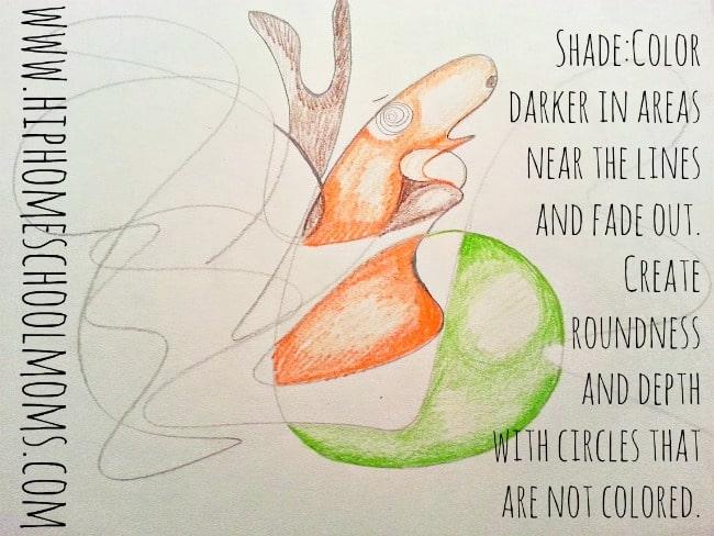 shading in scribble art creatures. | HipHomeschoolMoms.com