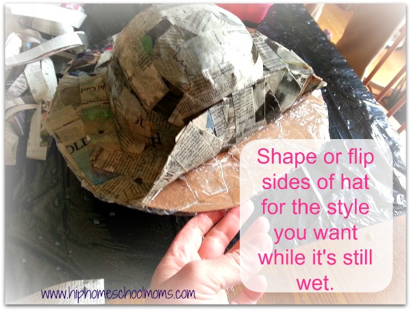 You can shape your paper mache hat while it's still wet to make the style you want. | Hip Homeschool Moms