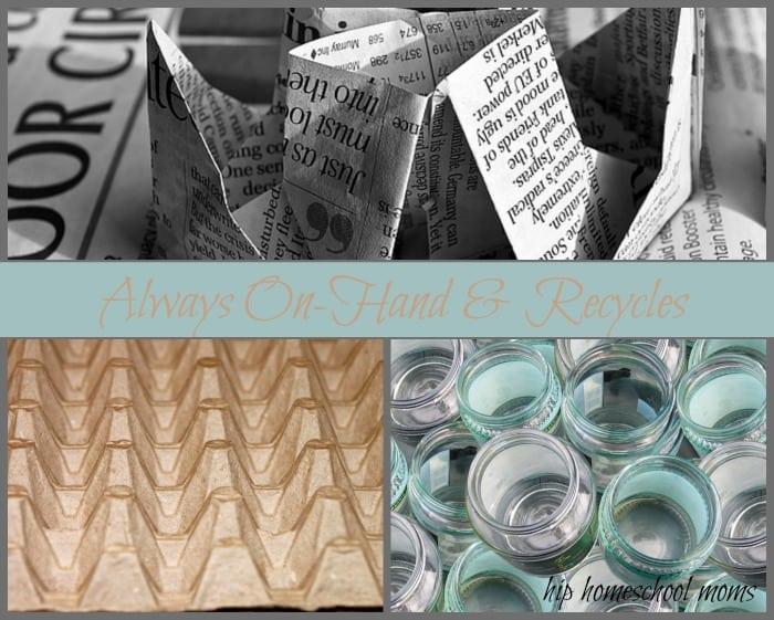 Always On-Hand & Recycles- Big list of homeschool art supplies