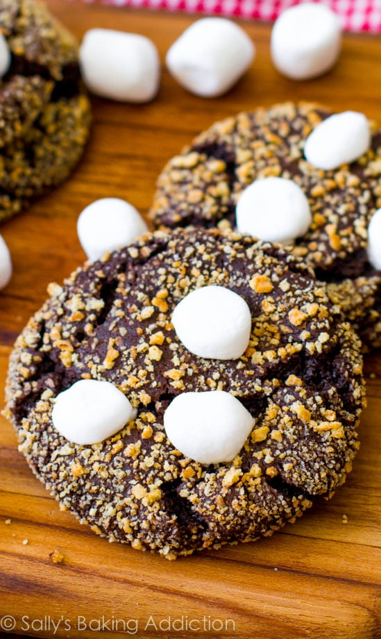 Smore Recipes: S'more Chocolate Crinkle Cookies