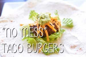 No Mess Taco Burgers from Constance Smith at Hip Homeschool Moms