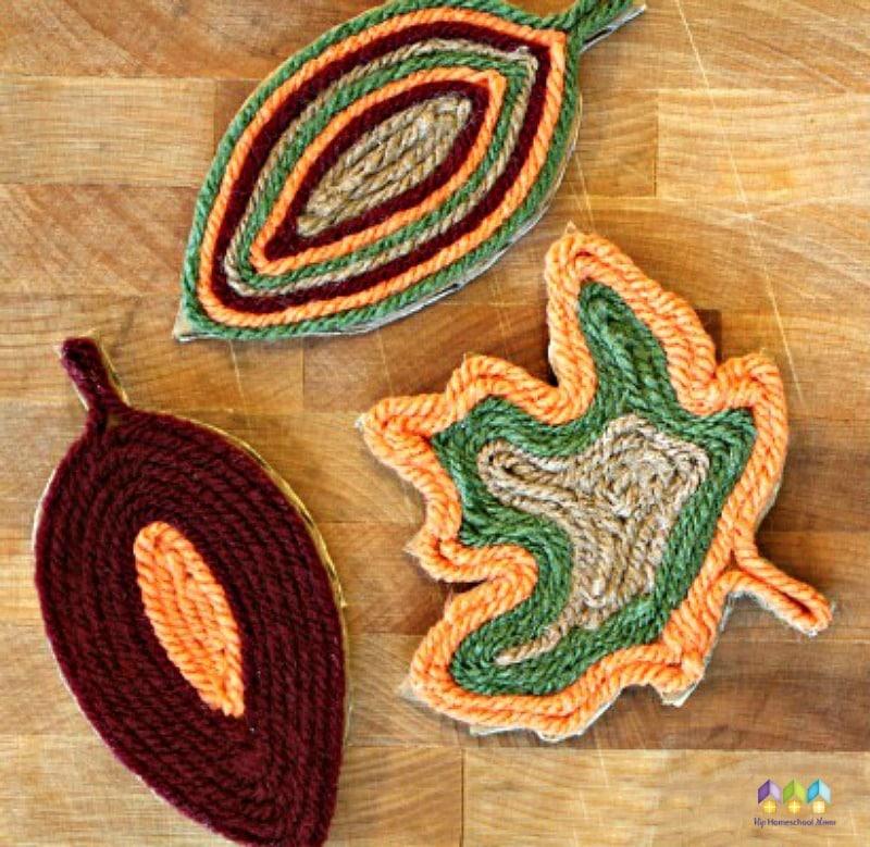 finished fall yarn leaf magnets