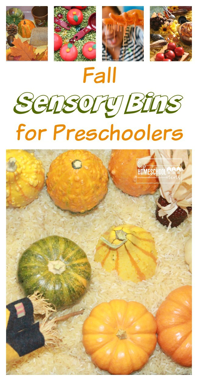 Fall Sensory Bins for preschoolers