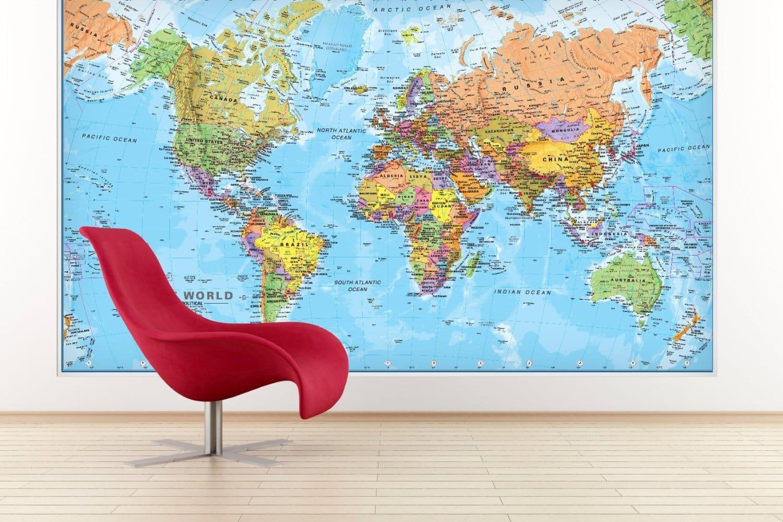 LIGHTNING DEAL ALERT Giant World MegaMap Large Wall Map Paper - Huge world map for wall
