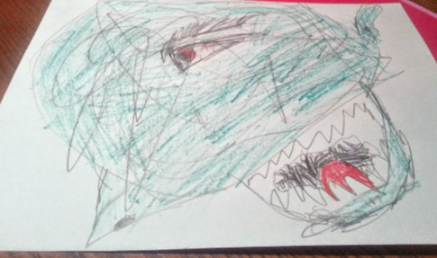 child's scribble art monster