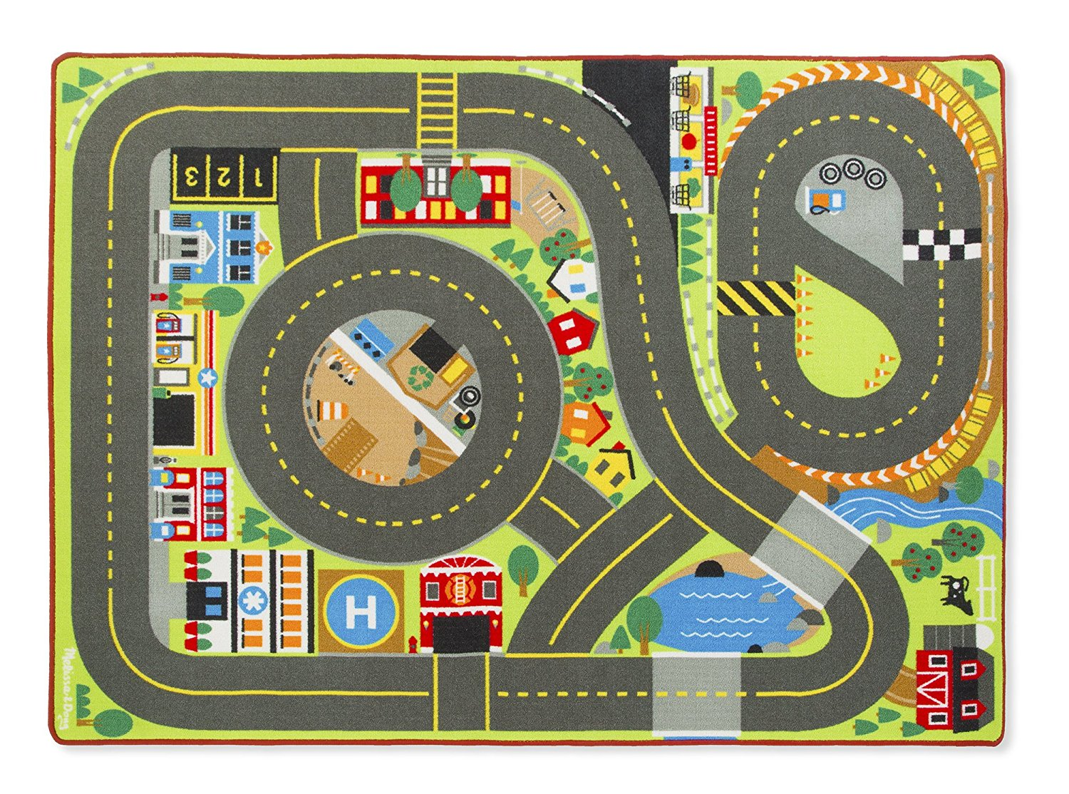 Lightning deal alert jumbo roadway activity rug with 4 - Alfombras infantiles ...