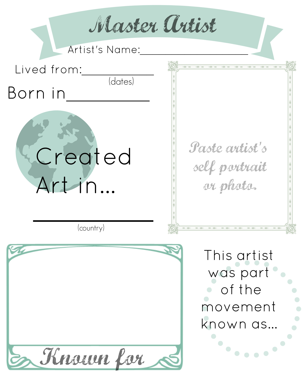Artist Notebook Pages | Hip Homeschool Moms
