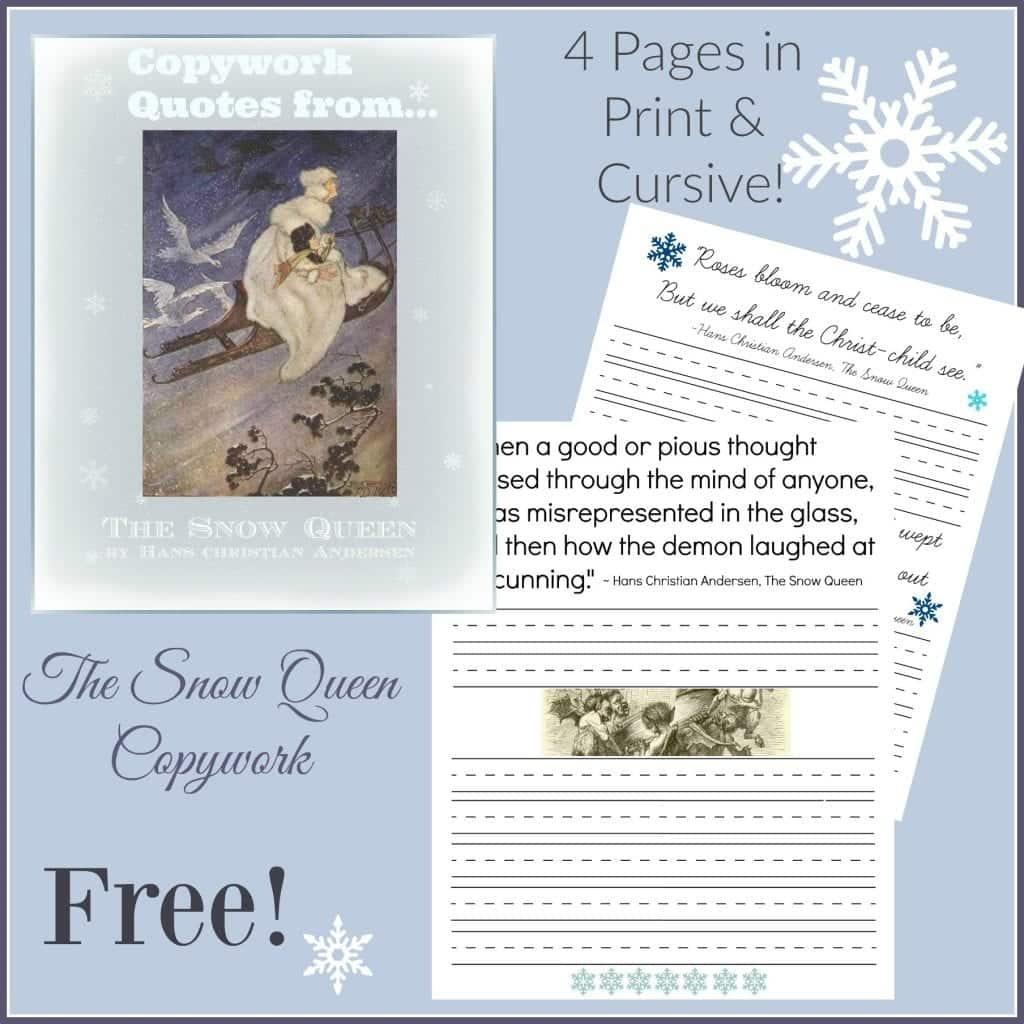 Free Snow Queen Copywork