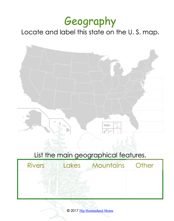 State Geography and Landforms Page
