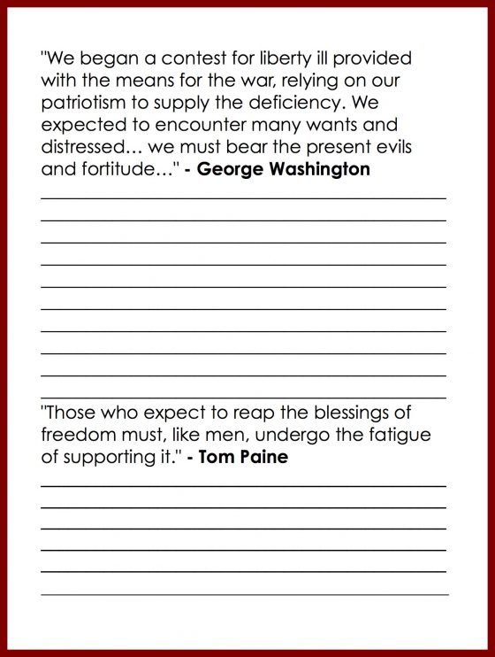 Copywork Quote of George Washington