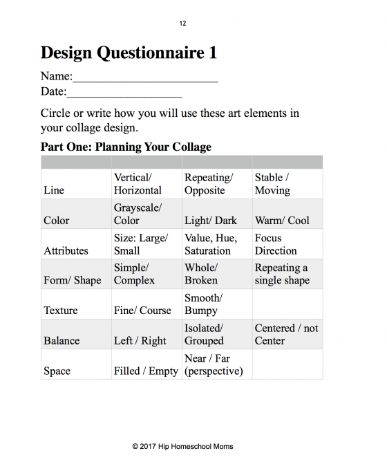 Design Questionnaire Worksheet