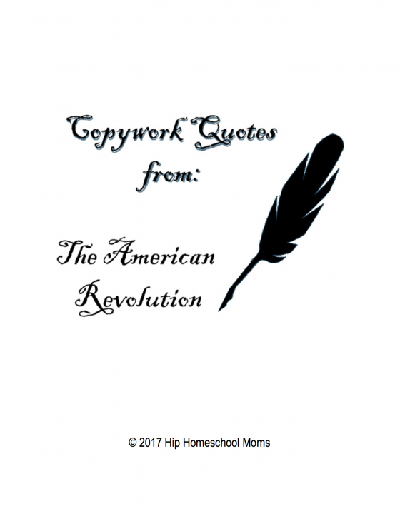 American Revolution Copywork Cover