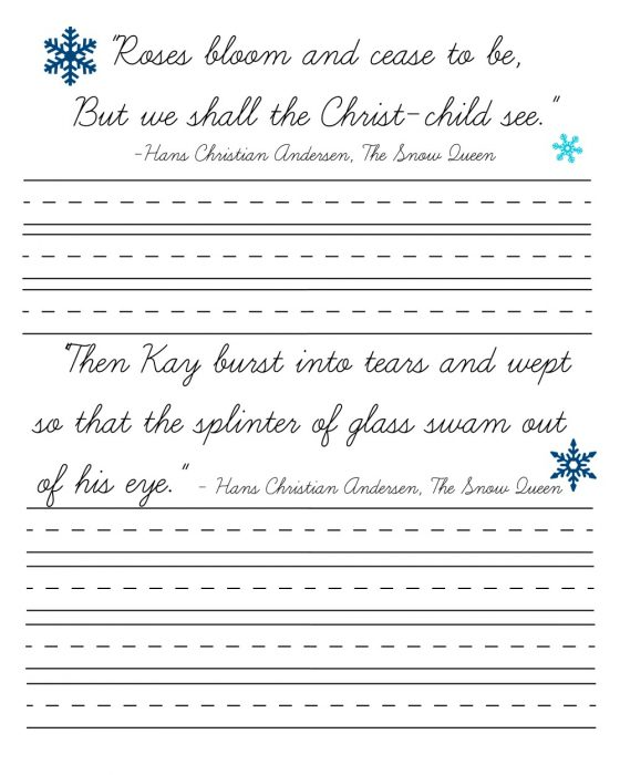 Snow Queen Cursive Page 2