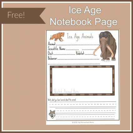 Ice Age Animal Notebook Page