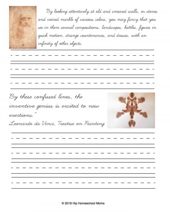 Da Vinci Copywork Cursive