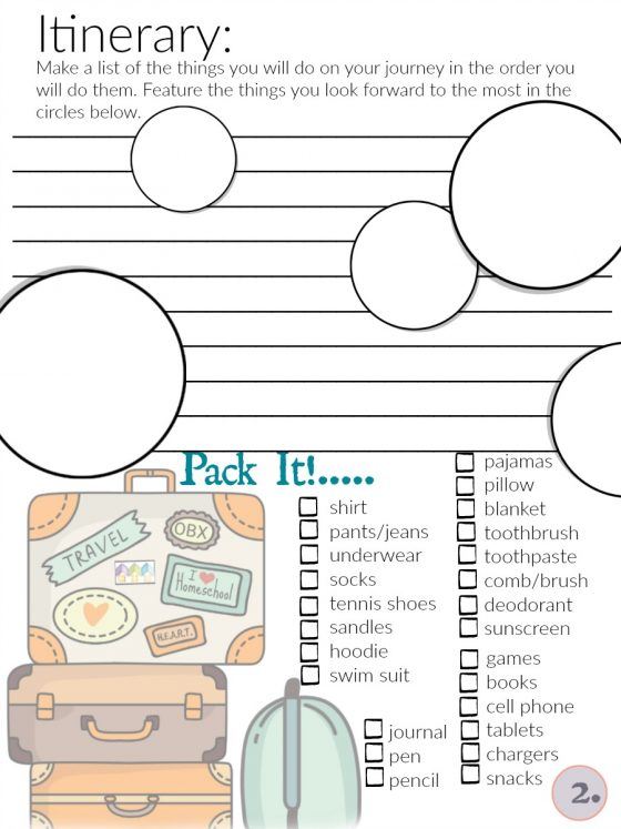 Travel itinerary and Checklist Page