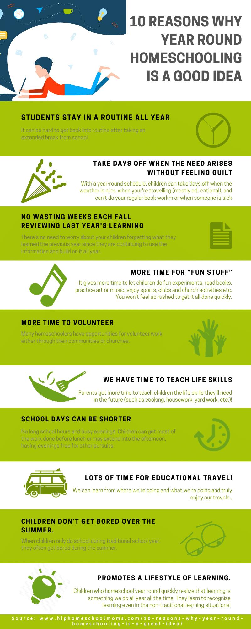 reasons to homeschool year round