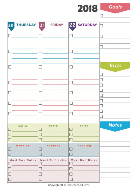 Weekly Planner right page