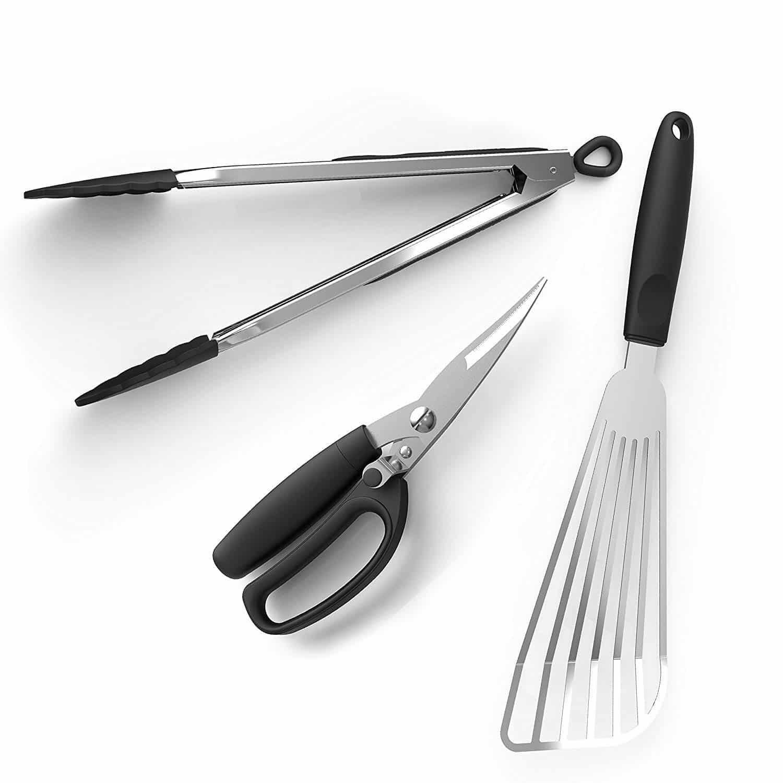 tongs, fish spatula and kitchen shears