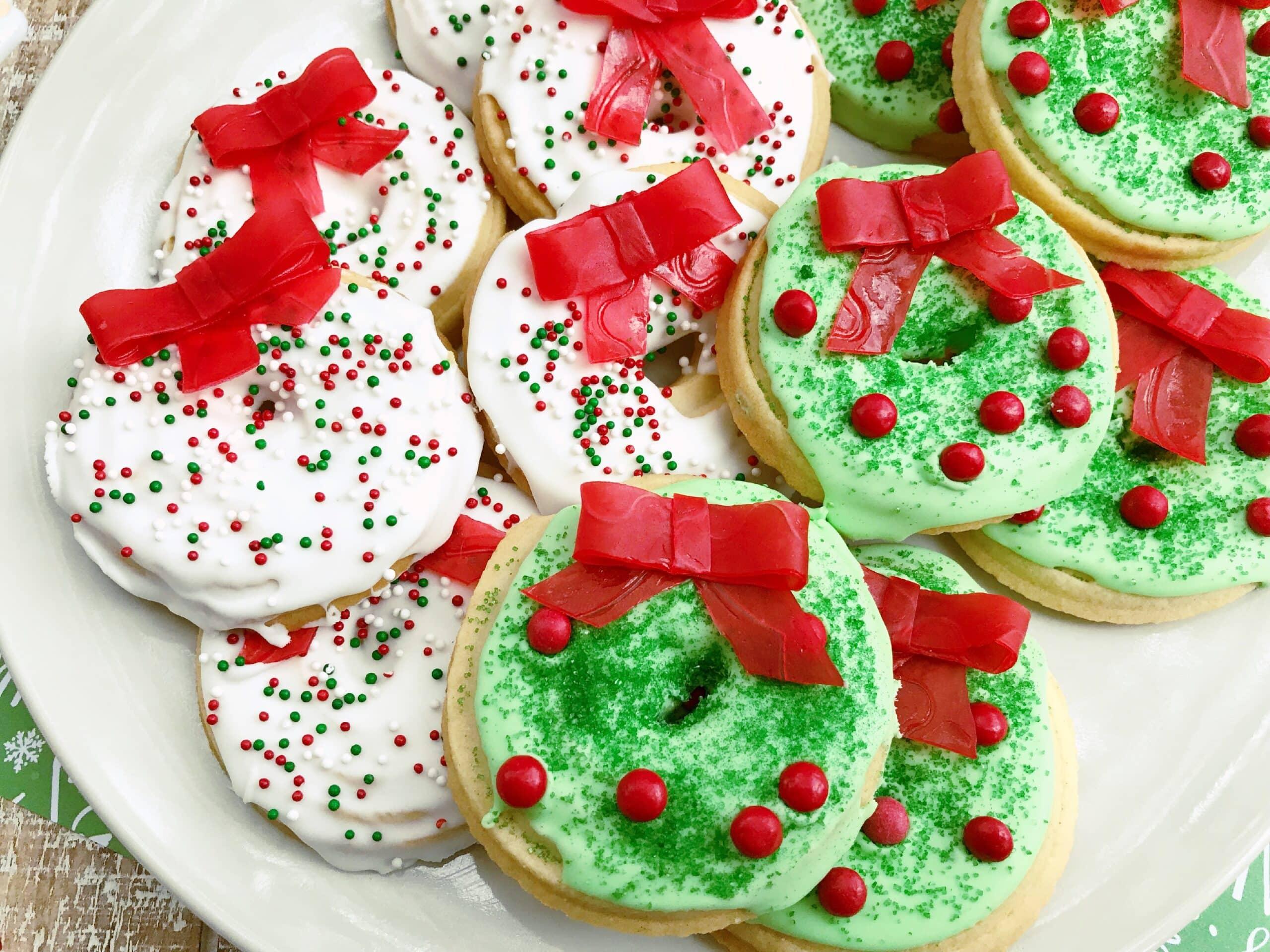 White Christmas Wreath Cookies