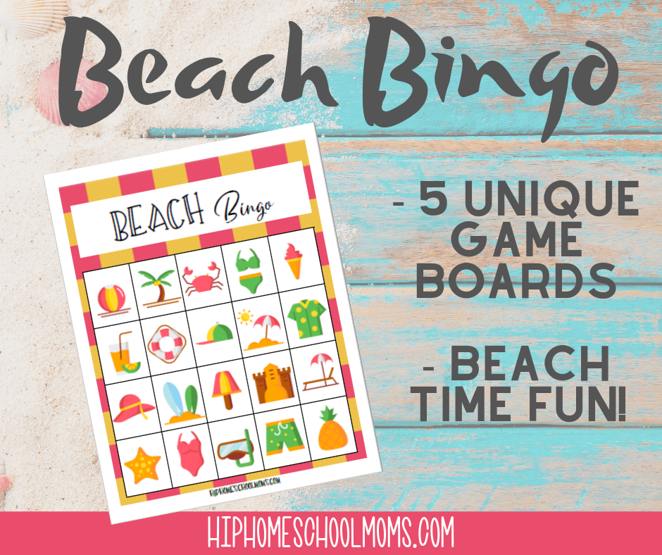 graphic regarding Printable Beach Pictures identify Seaside Bingo! (No cost Printable) Hip Homeschool Mothers