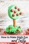 cupcake with green icing for grass, green dipped oreo cookie with red M&M apples