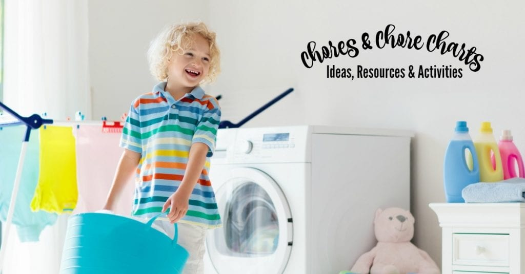 Child in laundry room with washing machine or tumble dryer. Kid helping with family chores. Modern household devices and washing detergent in white sunny home. Clean washed clothes on drying rack.