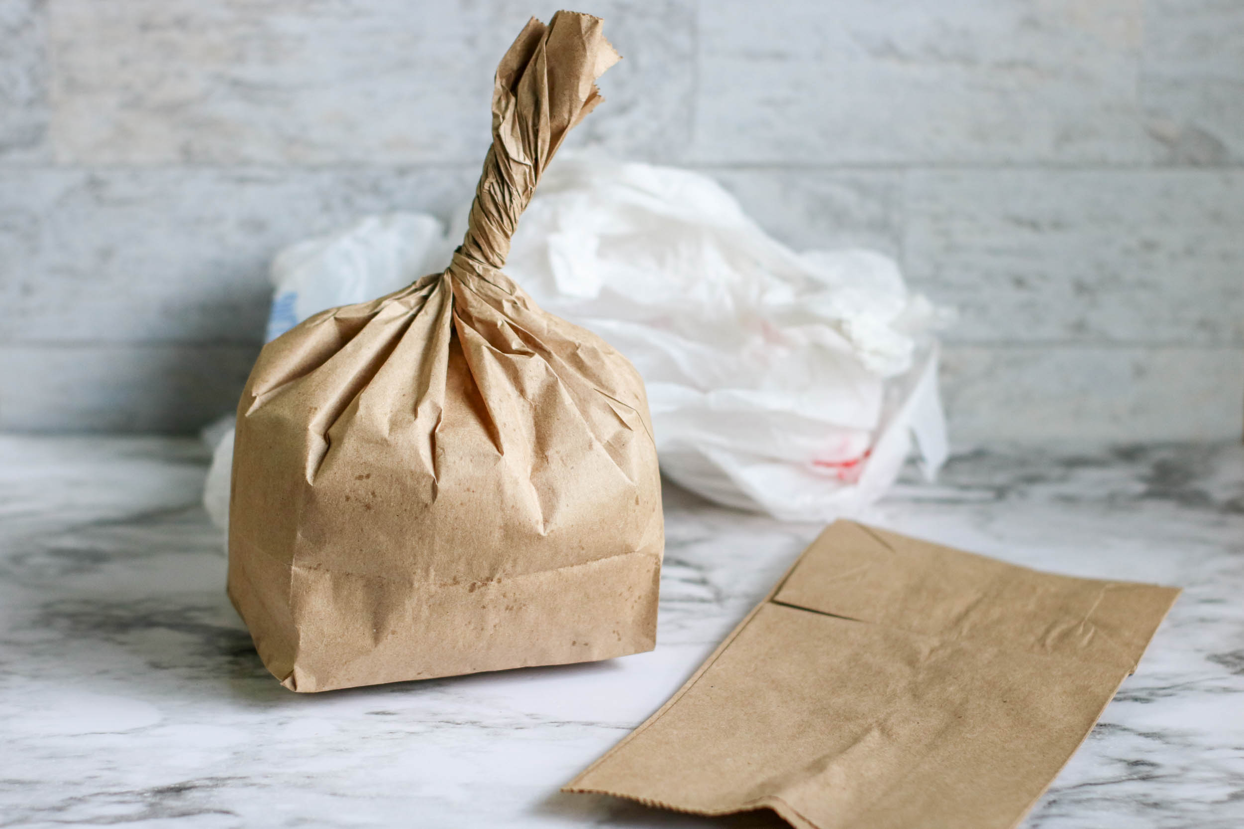 how to make an apple craft from a paper bag