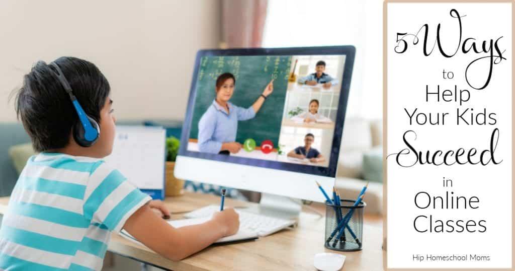 boy taking online class